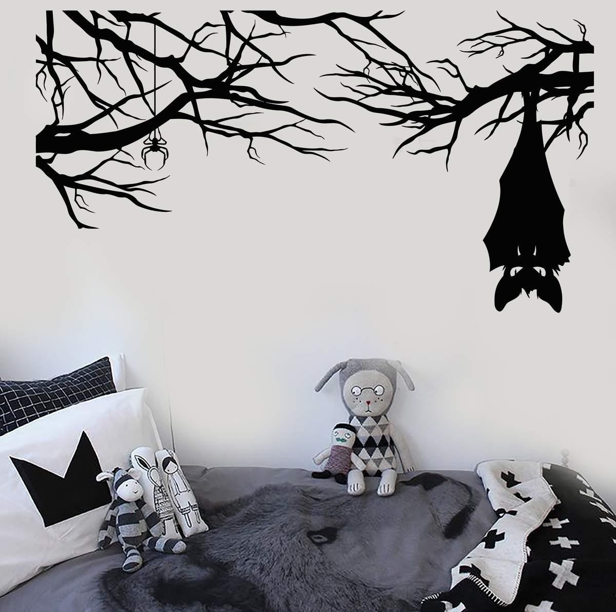 spooky Halloween decorations black bat wall stickers in a kids room