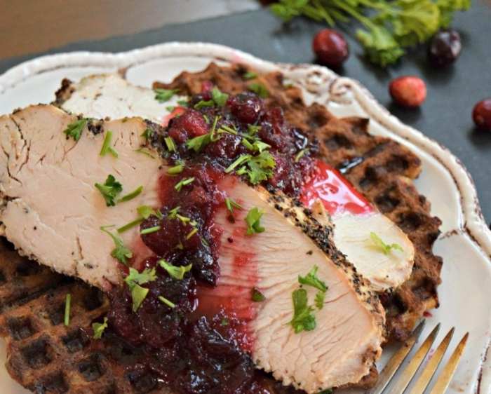 Thanksgiving meal meat with cranberry sauce