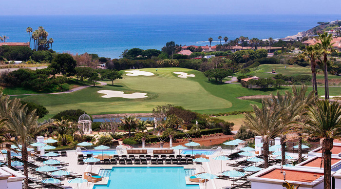 Golf course outdoor pool and ocean view