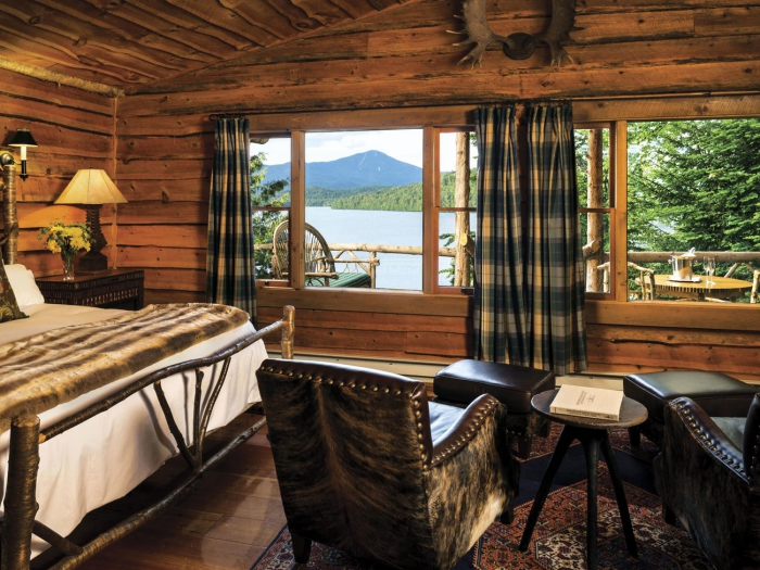 Wooden hotel interior lake view cottage style