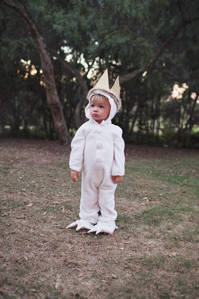 Little boy white Halloween costume the wild things white crown