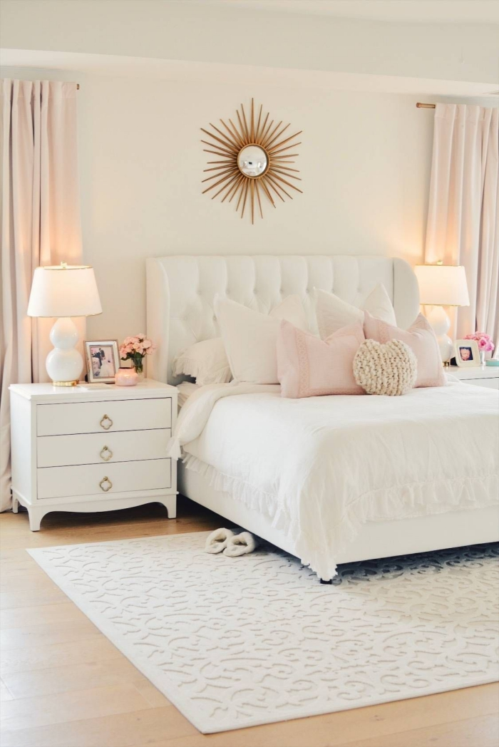 light bedroom in white with pastel and gold accents
