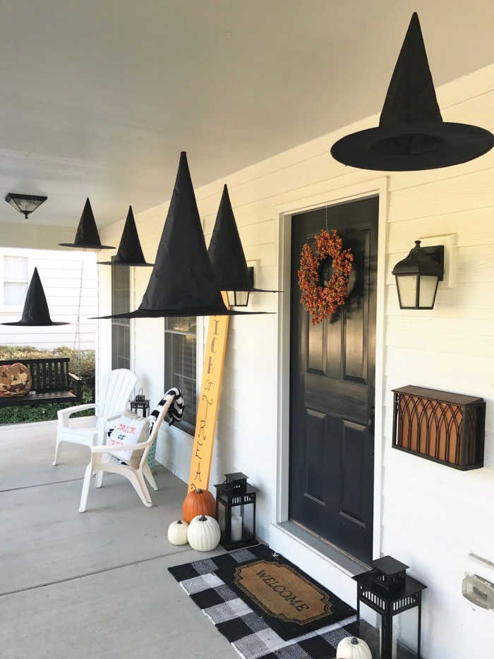 Witch Hats Halloween decorations porch with black witch hat garland