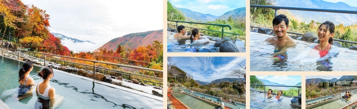 Yunessun Spa Resort people enjoying hot water outdoor pools and autumnal view over a mountain
