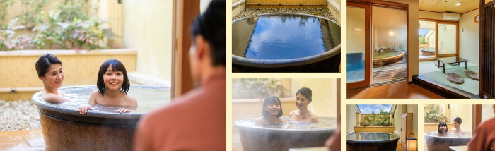 mother and daughter enjoying hot water baths at spa resort luxury spa interior