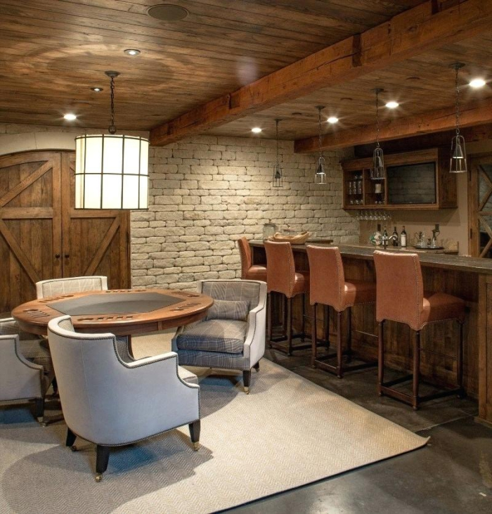 wooden basement kitchen with a bar secondary kitchen