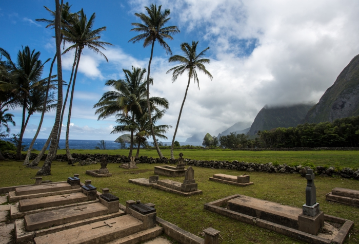 colony on Kalaupapa in Hawaii graveyard palm trees island