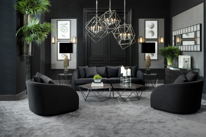 Shades of grey in a luxury modern living room with abstract metal lights and plants