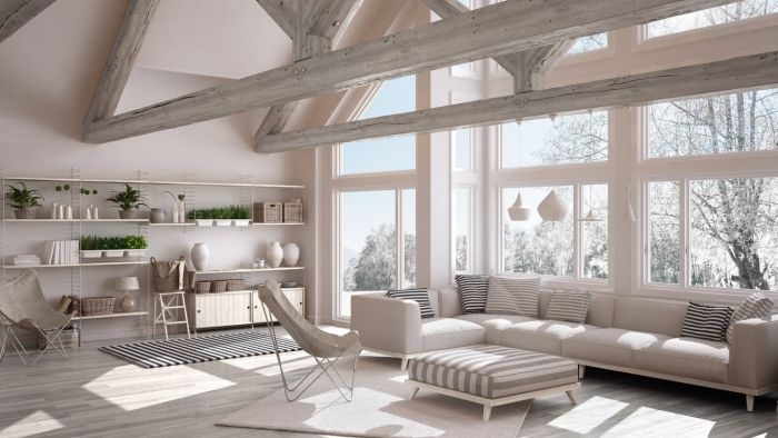 living room in with large windows all white Scandinavian style stripes