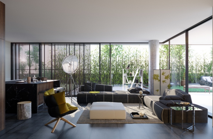 modern urban living room design with large windows natural light contrasting furniture