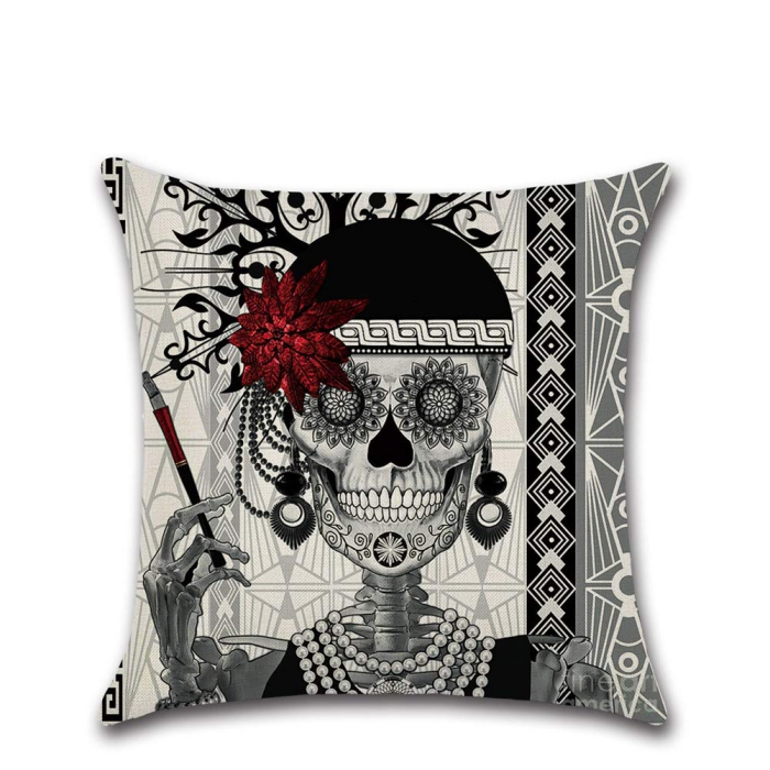 Spooky Halloween cushion cover with a black skeleton with red flower and a cigarette