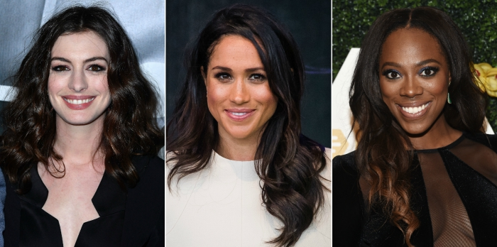three women celebrities with different skin tones and shades of brown hair