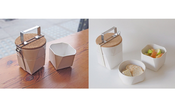 Ceramic lunch box container with cork lid abstract shape stackable