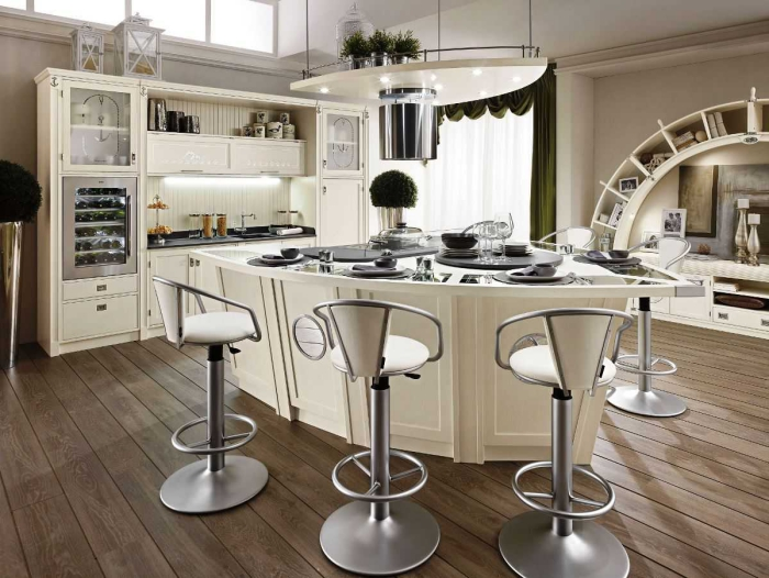 Modern white kitchen design with kitchen island and three high chairs