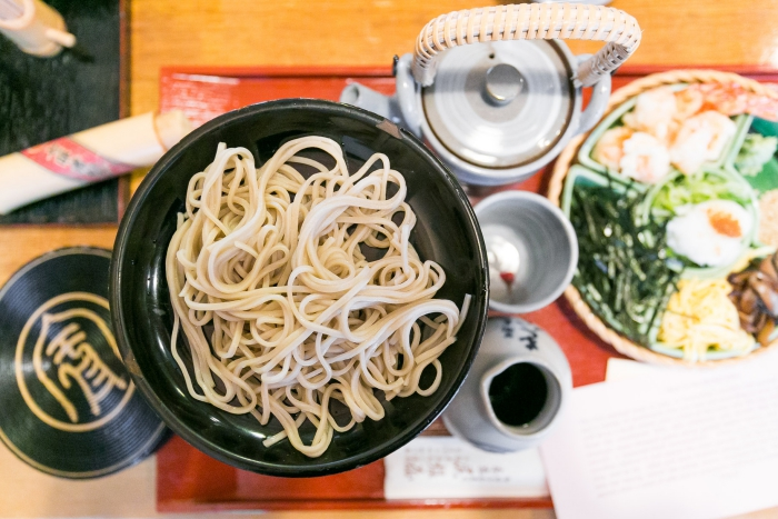 Japanese food - noodles in a plate and tea