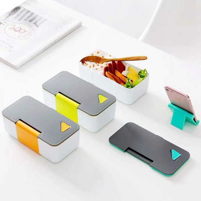 Lunch box food containers modern design white and grey on white background