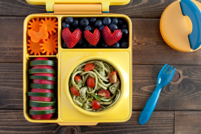 healthy creative lunch yellow lunch box with blue fork portion sizing