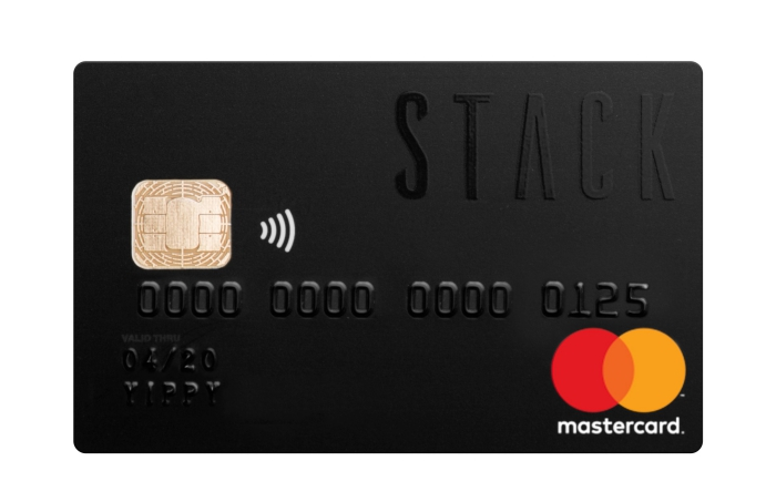 Black STACK Prepaid Mastercard card close up Debit Cards With No Foreign Transaction Fees