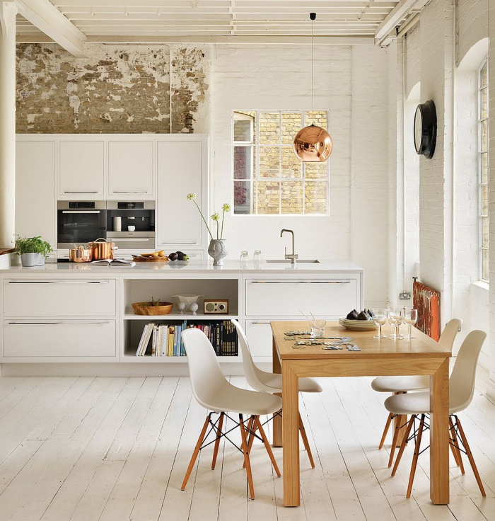 Scandinavian white kitchen with wooden and copper elements