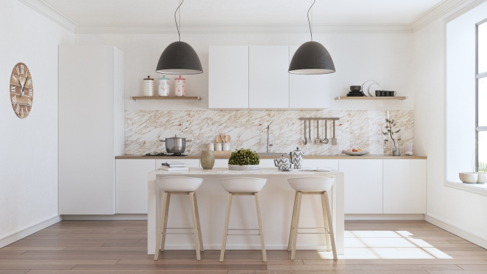 spacious white kitchen with wooden elements