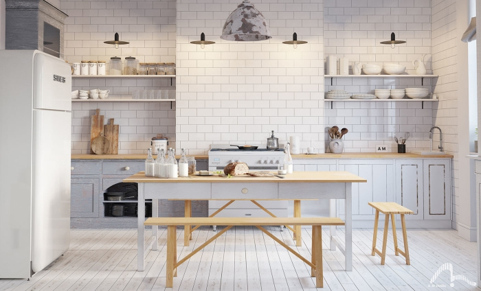 white and wood kitchen with tiles and white floor
