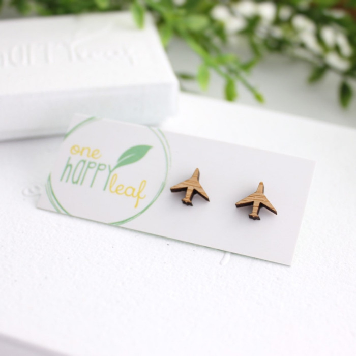 travel themed jewelry wooden planes earrings