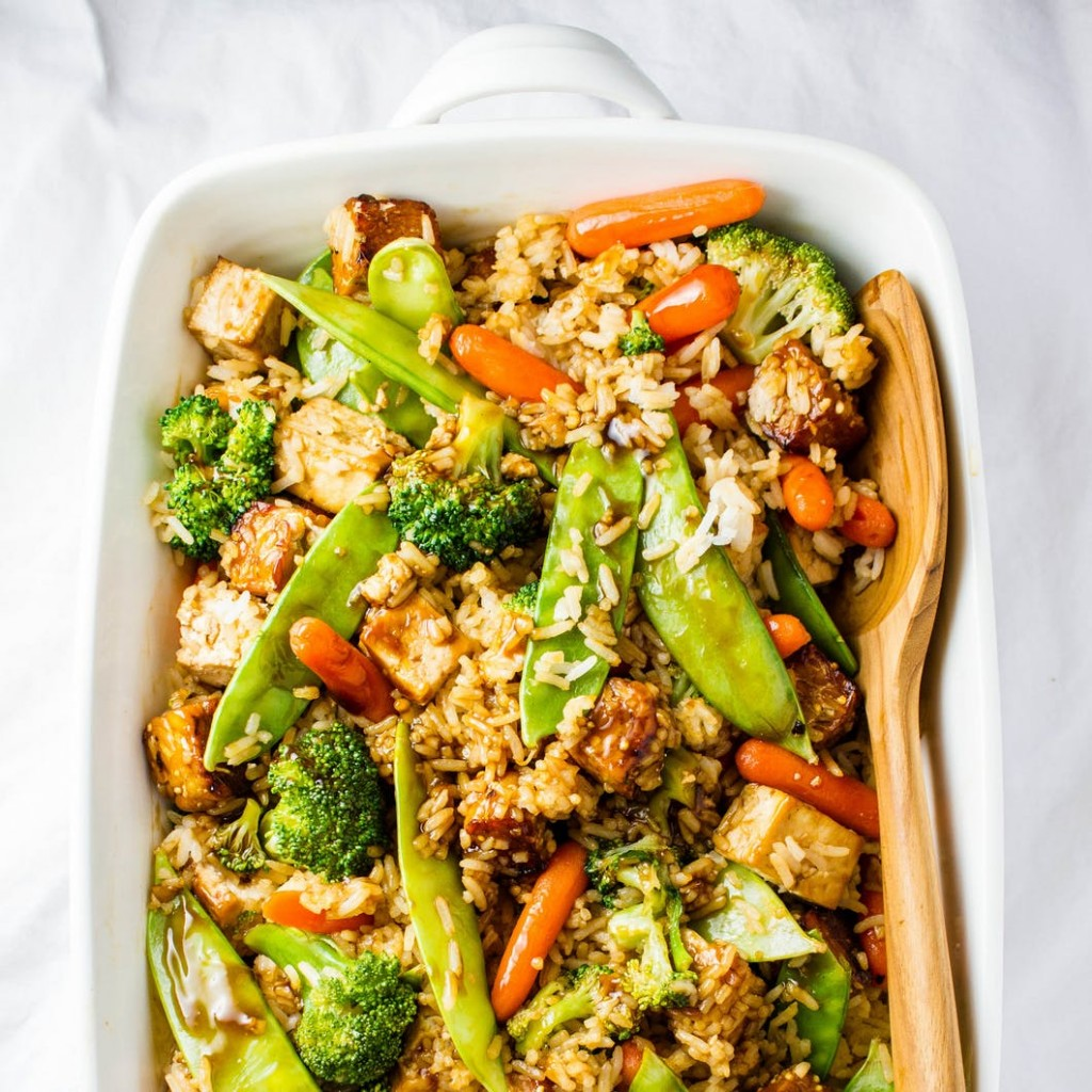 vegan casserole with different vegetables rice and tofu