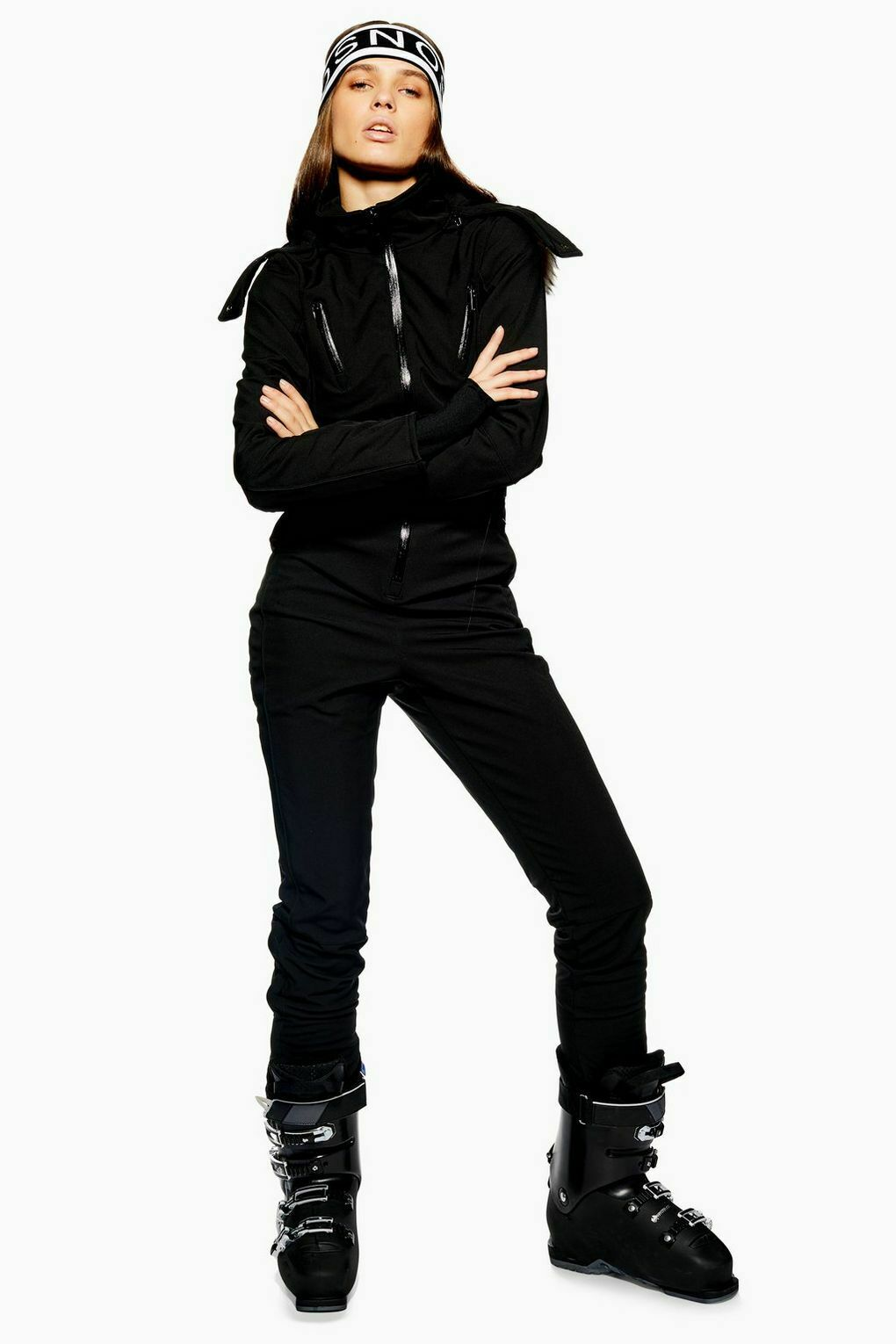 woman in black all in one ski suit