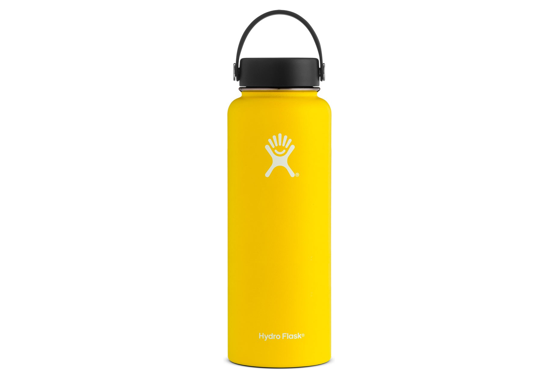 bright yellow water bottle with black cap white background