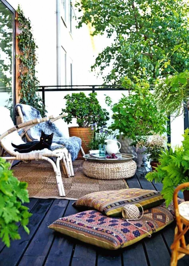 Boho style small urban patio with plants rattan chairs and cushions black cat