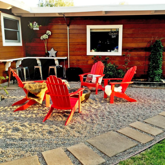 small patio ideas bright red furniture chairs fire pit