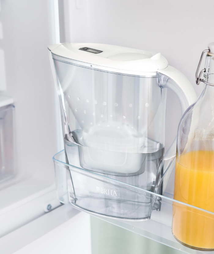 Brita Marella water filter jug large transparent jug in a fridge white lid