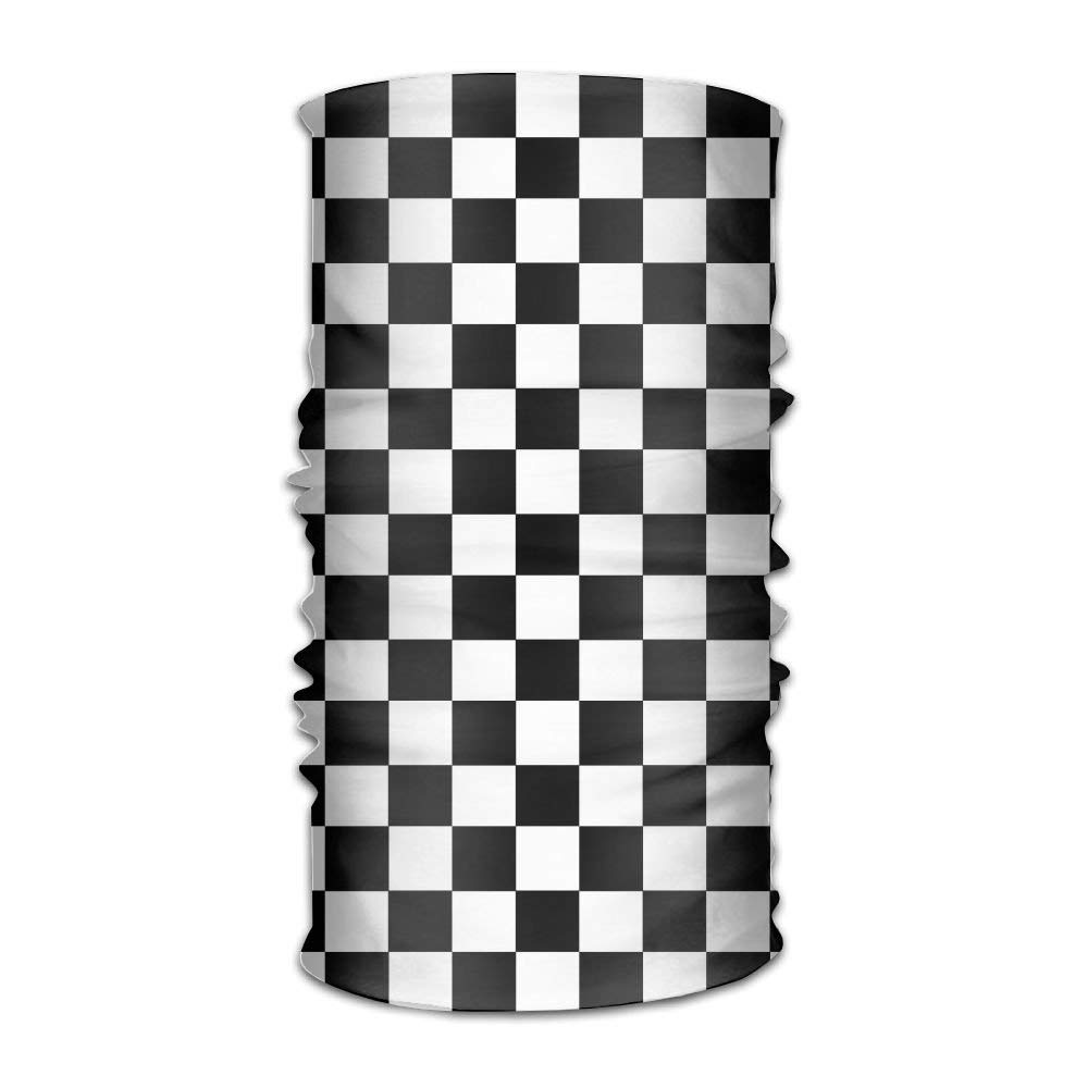 Checkered print ski wear trends 2020 black and white headscarf