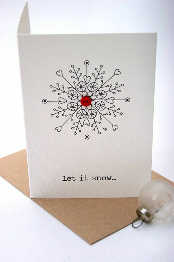 Christmas cards with buttons simple snowflake card let it snow