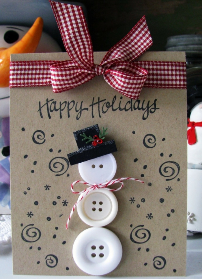 Snowman made from white buttons Christmas card ribbon