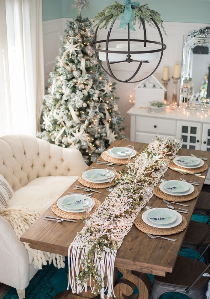 Christmas table inspiration decorated table runner christmas tree metal chandelier