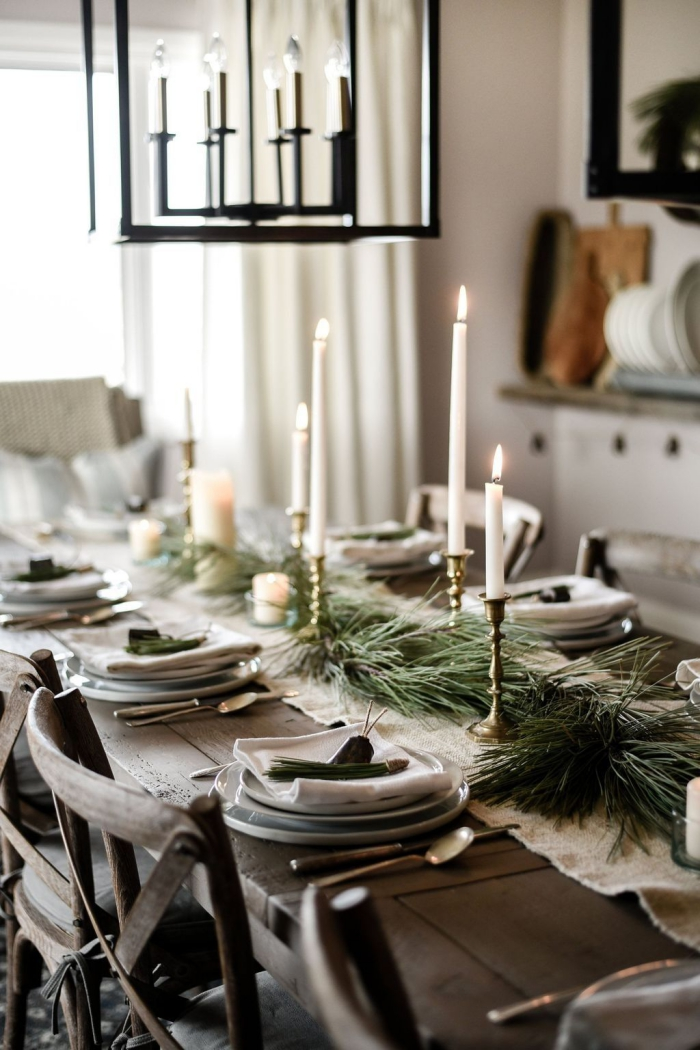 Evergreen table centerpiece candle rustic setting
