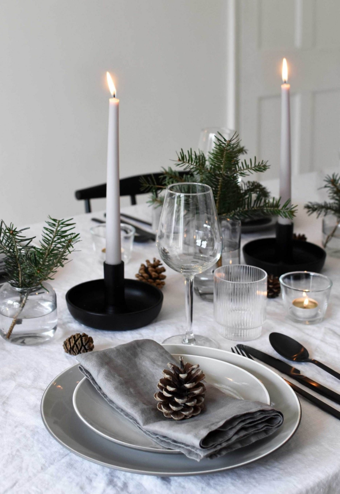 Christmas simple modern table centerpiece inspiration black and grey pinecones