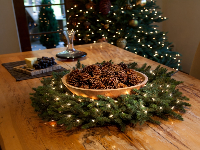 Christmas simple natural table centerpiece bowl pinecones evergreen wreath