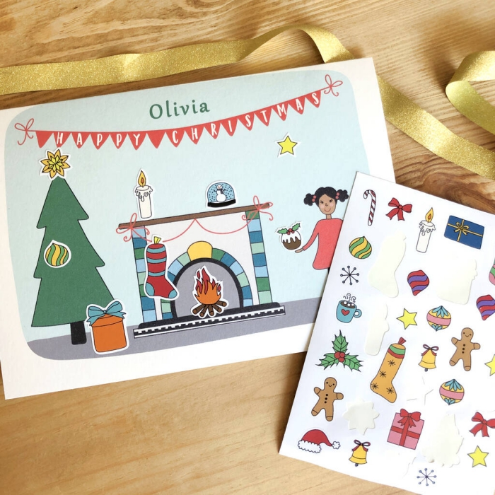 Christmas Stickers for Christmas DIY cards two colorful cards for kids