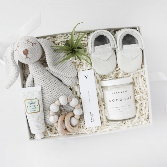 Baby gift box with soft toy rabbit little shoes coconut cosmetics