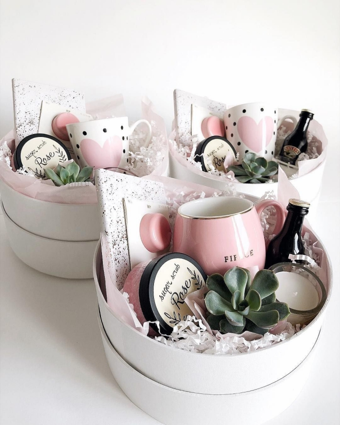 Three cute gift baskets with potted plant mug cosmetics candle