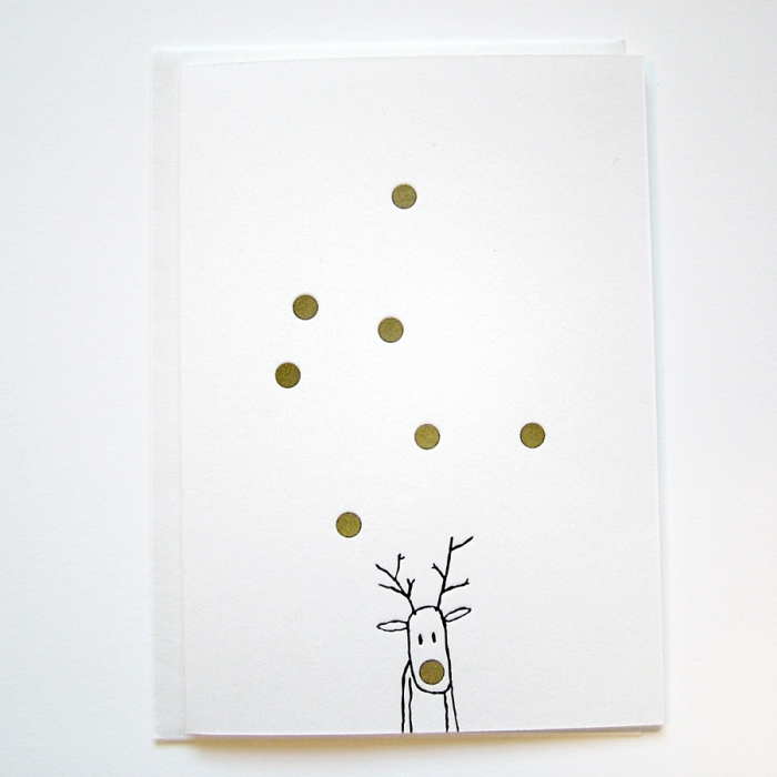 Christmas cards diy recycled paper reindeer golden dots white card