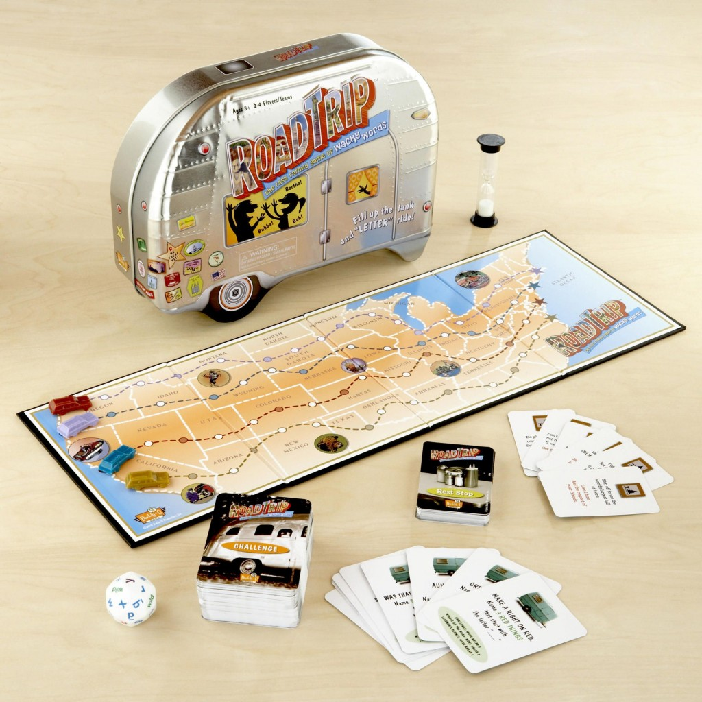 Fun road trip board game with cards and a tin box