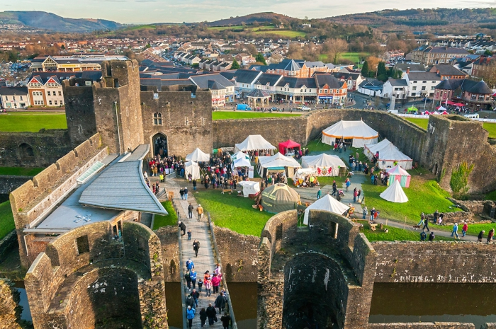 Christmas halfpenny getaways in UK Wales castle view from above fair