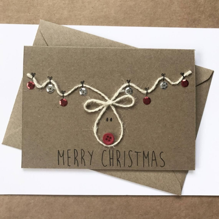 handmade christmas card with rope buttons sequin