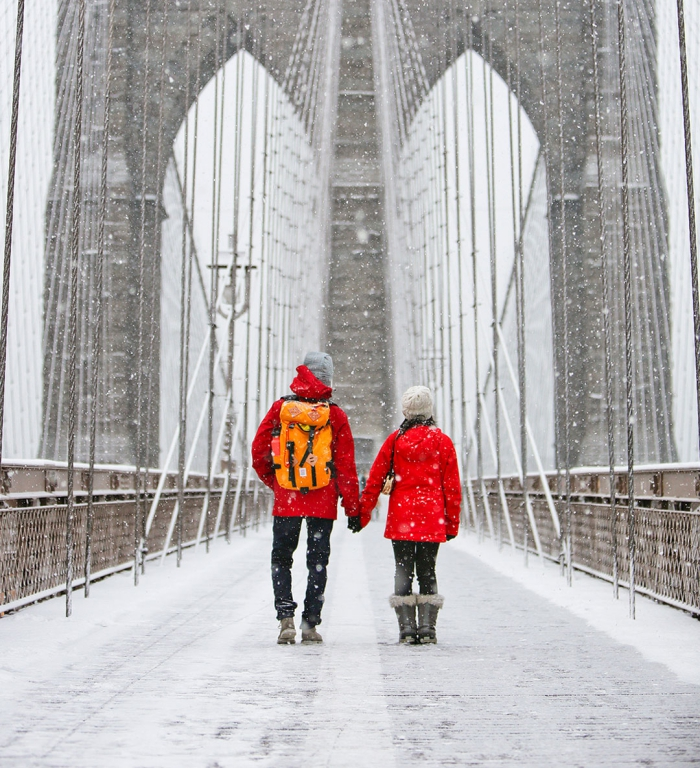 Couple in red jackets in the snow on a bridge holding hands