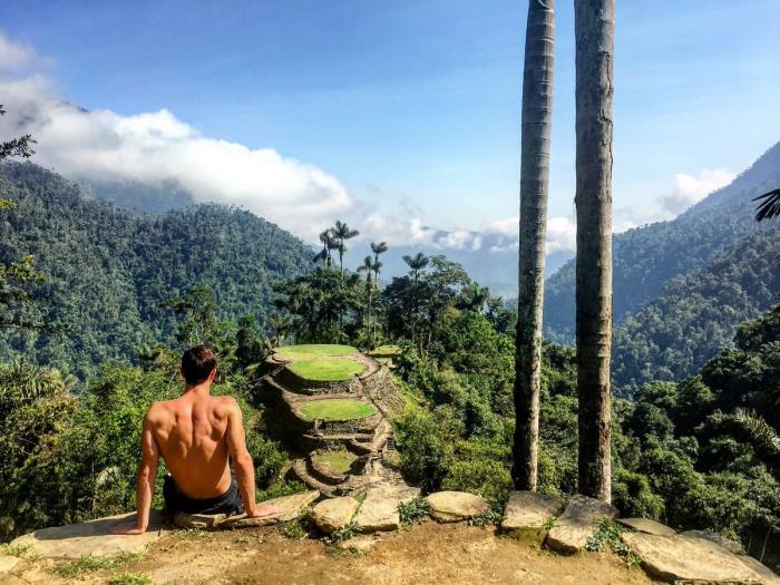 Ciudad Perdida Colombia's Lost City man overlooking