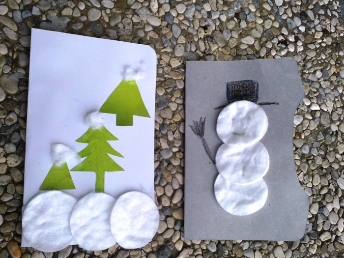 Cotton Pads Christmas DIY cards ideas two cards made with cotton