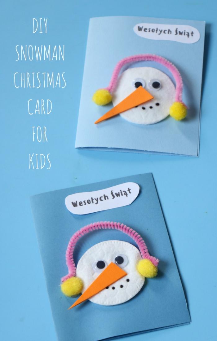 DIY christmas cards inspiration blue cotton pads snowman card